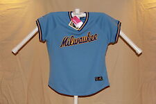 MILWAUKEE BREWERS Majestic COOPERSTOWN JERSEY Womens Large 12-14 NWT $80 retail