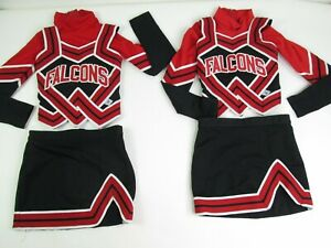 2 Twin Child FALCON Cheerleader Uniform Outfit Halloween Costume 3 Piece Size 4