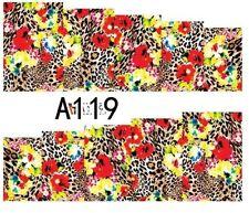 Nail Art Pegatinas Transfers Calcomanías Rojo/Efecto de leopardo (A-119)