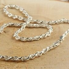 Solid Sterling Silver Italian Rope Chain Mens 925 Necklace 4mm - Made In Italy
