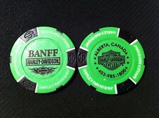 "Harley Davidson Ball Marker Poker Chip (NEON Green/Black) ""Banff"" Alberta Canada"