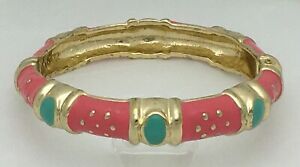 FORNASH TURQUOISE and PINK TEXTURED ENAMEL HINGED BANGLE BRACELET GOLD ACCENTS