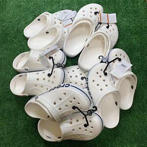 Crocs Bayaband White Navy Clogs Slip On Classics Slide Sandals 205089-126 New