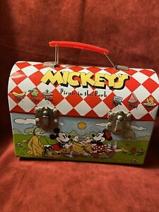 Disney Picnic In The Park Box Candy Tin/ Dome Lunchbox Mickey, Minnie, Pluto