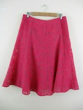 5dd0259ff M&S Classic skirt size 14 pink.flared panel floral sheer panels. Unusual.  Nwot