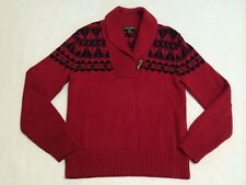 Ralph Lauren M Red Black Nordic Toggle Ski Sweater Southwest Geometric Medium