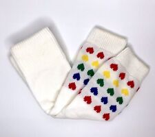 "Vtg Girl's Leg Warmers Colorful Hearts 80's 18"" Length Costume Prop Retro Kawaii"