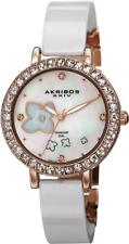Akribos AK762RGW Swiss Quartz Diamond Flower Dial Ceramic Band Womens Watch