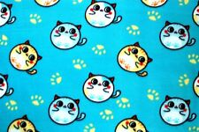 ADORABLE FAT ROUND BUBBLE CATS ON TURQUOISE FLEECE MATERIAL 2 YDS 60 X 72""