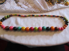 "Multicoloured Wood Bead Necklace - 28"" long"