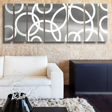 """SALE"" Silver Modern Contemporary Abstract Metal Wall Art Painting Panels Decor"