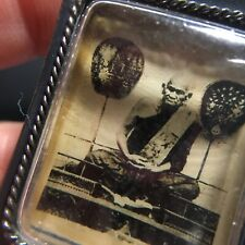 Lp Ngern Real Picture on Glass Old Style Case Thai Amulet Talisman Charm.