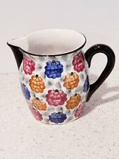"Vintage GES GESCH Germany Colorful 5.5"" Ceramic Pitcher Chintz Raspberry"