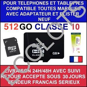 CARTE MEMOIRE MICRO SD 512 256 128 64 32 16 8 4 2 GO GB GIGA SDXC SDHC CLASSE 10