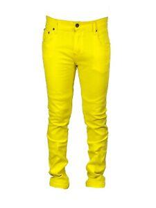 Georgio Peviani Vice Jeans Mens Red Yellow Green Regular Slim Fit Leg Denim Jean