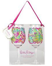 Lilly Pulitzer Acrylic Wine Glass Set, Spot Ya, Pink