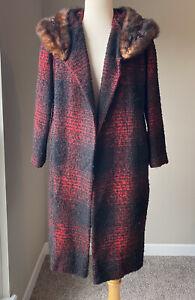 Vintage 60's 70's Showroom Red Black Plaid Fur Collard Open Front Coat Jacket M