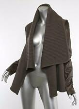 GIVENCHY Womens Brown Wool & Leather Ribbed Waterfall Coat Jacket M NWT $2470