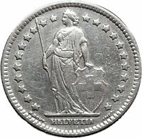 1921 Switzerland Old Antique 1 Franc Silver Coin Helvetia Wreath i48650