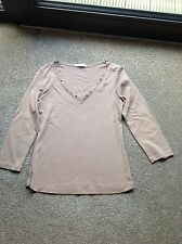 Brown/Cream Metal Detail Marks & Spencer Thin Jumper, Size 10
