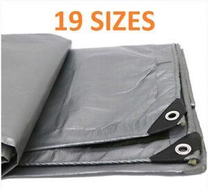 Tarpaulin Silver 160GSM Waterproof Cover Tarp Ground Camping Sheet Multipurpose