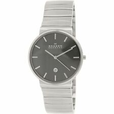 Mens SKAGEN Anchor Grey Dial Stainless Wave Link Ultra Slim Watch SKW6109 $195