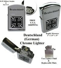 Deutschland (German) Chrome Lighter (Uses Lighter Fluid And Replaceable Flints)