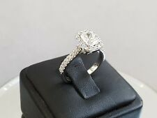 1.75ct CUSHION HALO RADIANT diamond engagement Ring 14k WHITE GOLD D COLOR VS1