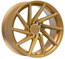 F1R F29 17X8.5 +38 5X100 GOLD WHEELS FIT VW JETTA GOLF CELICA COROLA BRZ WRX STI
