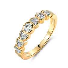 Heart Round Diamond Silver & Gold Filled Women Lady Wedding Jewelry Finger Rings