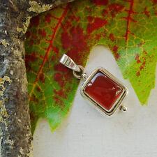 Karneol, eckig, rot braun schlicht  modern Amulett Anhänger, 925 Sterling Silber