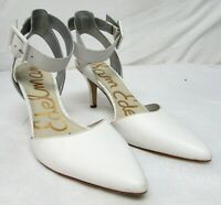 Sam Edelman size 8.5 M high heel ankle strap pumps pointy toe white leather