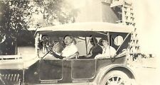Vintage Real Large Photo- Old Car- Canvas Top- Pretty Woman In Hat- Out for Ride