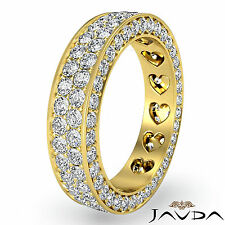 2 Row Womens Wedding Band Pave Diamond Heart Eternity 14k Yellow Gold Ring 2Ct