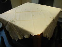 VINTAGE WHITE COTTON  TABLECLOTH 52 in SQUARE MADERIA CUT OUT EMBROIDERED