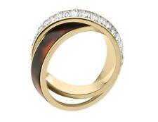 Michael Kors Glitz GoldTone Crystal/Tortoise Double Twist Ring SIZE 8 mkj3089710