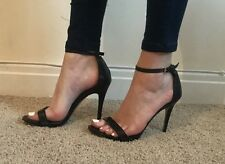 Size 7 New Look Black Faux Leather Strappy Sandals Heels Stiletto WORN Summer