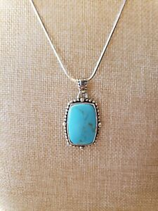 """Sterling Silver Necklace With Turquiose 20"""" long pendant 2"""" Excellent FREE SHIP!"""
