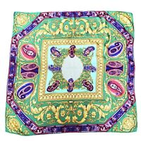 Versace Atelier Silk Scarf Medusa Green Gold 34in Authentic