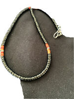 Mens Navajo Native Amer Spiny Oyster Heishi Onyx Sterling Silver Necklace01391