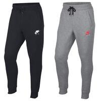 Nike Mens Club Swoosh Navy Blue Cuffed Tracksuit Bottoms Slim Fit Sports Pants L