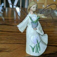 "Roman, Inc Angel Accents, Feburary birth month figurine Crocus, #9302 3 5/8"" h."