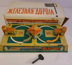 Vintage Working 1960's Russian USSR Tin Litho Wind-Up 'Key Wind' Train Set w/Box