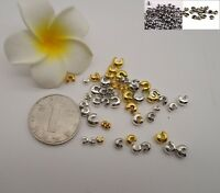 Knot Cover Crimp Beads Silver Gold Plated End Jewelry Making 3 or 4mm