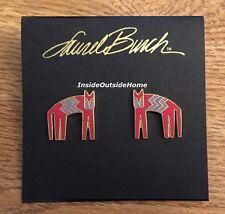Laurel Burch Zag Cat Earrings Red Purple Cloisonne Gold Tone NEW Retired