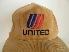 Vintage United Airlines Dorfman Beige Corduroy Cotton One Size Snapback Hat Cap