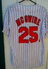 M L B ST LOUIS CARDINALS MARK MCGWIRE #25 GREY&RED PINSTRIPE JERSEY XLG MAJESTIC