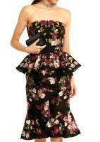 $8,145 Alexander McQueen Embroidered Ruffle Organza Peplum Dress US 4 6 / IT 42
