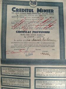 Stock certificate of Roumania