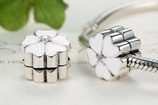 Silver Plated white Primrose Cherry Blossom Clip Stopper Bead fit charm bracelet